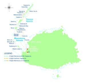 Übersichtskarte Routenverlauf Captain Cook Cruises Yasawa Island Cruise Fidschi