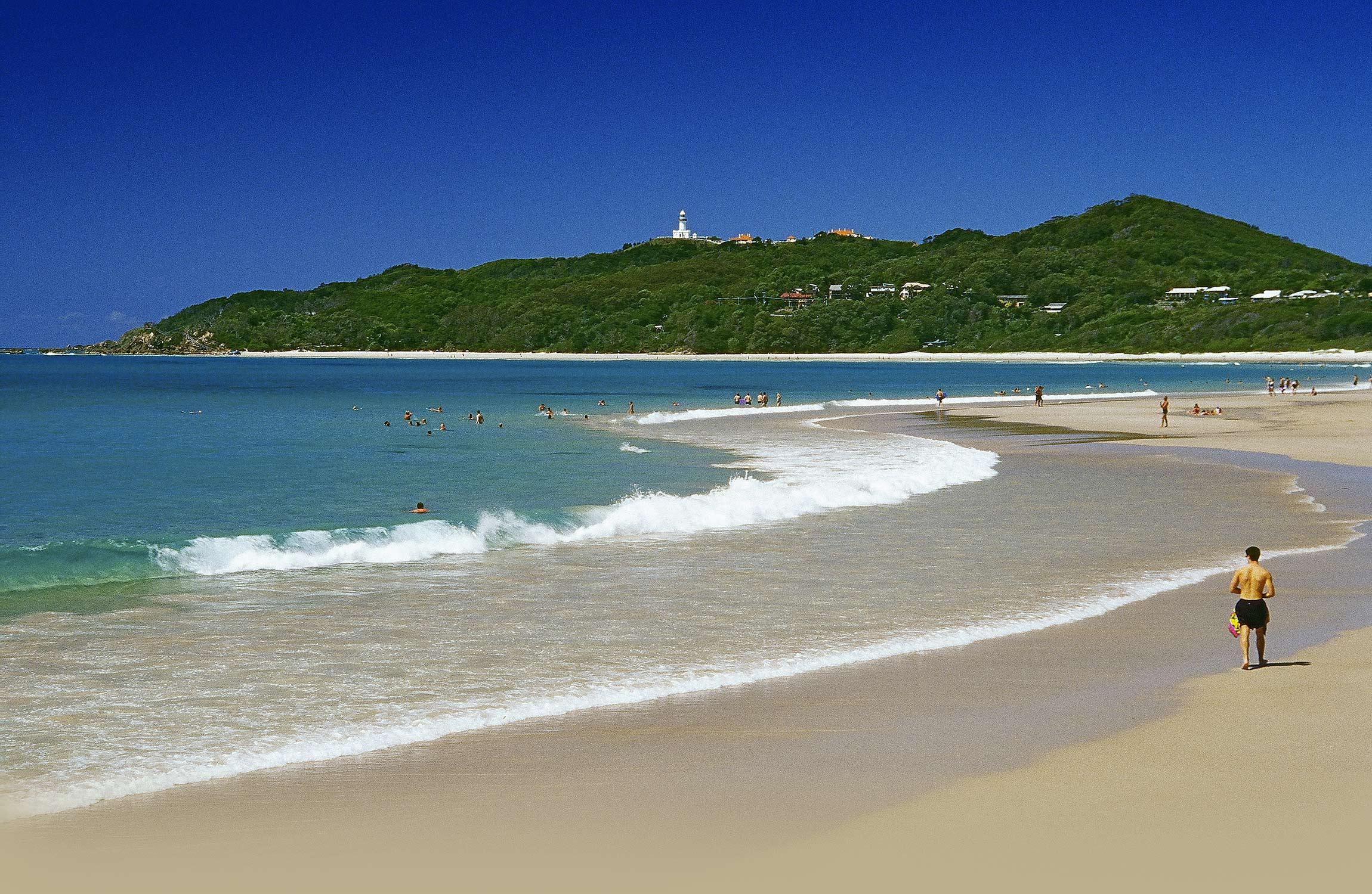 Blick auf Leuchtturm und Strand von Byron Bay New South Wales Australien