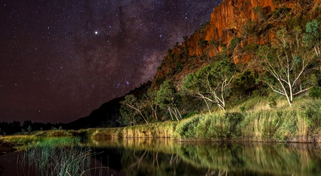 Glen Helen Gorge at night West MacDonnell Ranges Alice Springs Northern Territory