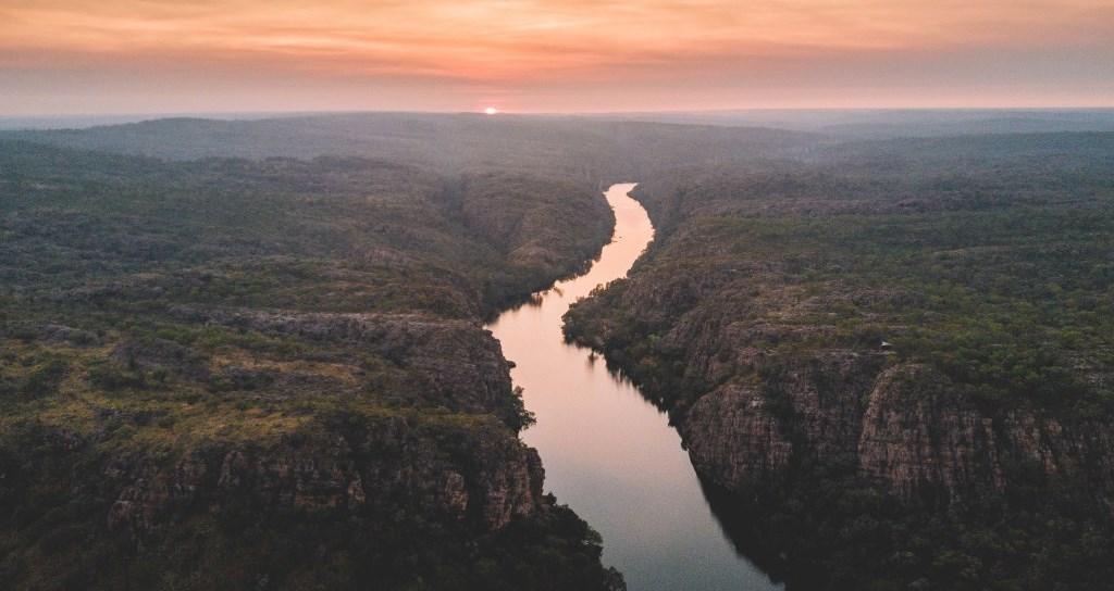 Sunrise über der Katherine Gorge Nitmiluk Nationalpark Northern Territory