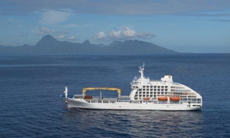 Aranui 5 auf See Marquesas Inseln Französisch Polynesien Tahiti