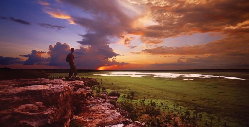 Sonnenuntergang über den Floodplains Ubirr Rock Kakadu Nationalpark Northern Territory