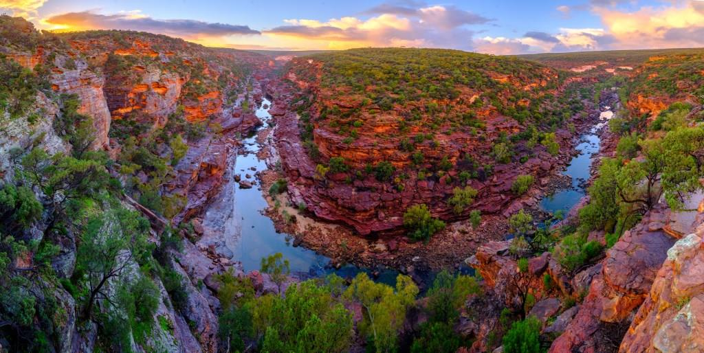 Z Bend Sunset Kalbarri Nationalpark Westaustralien