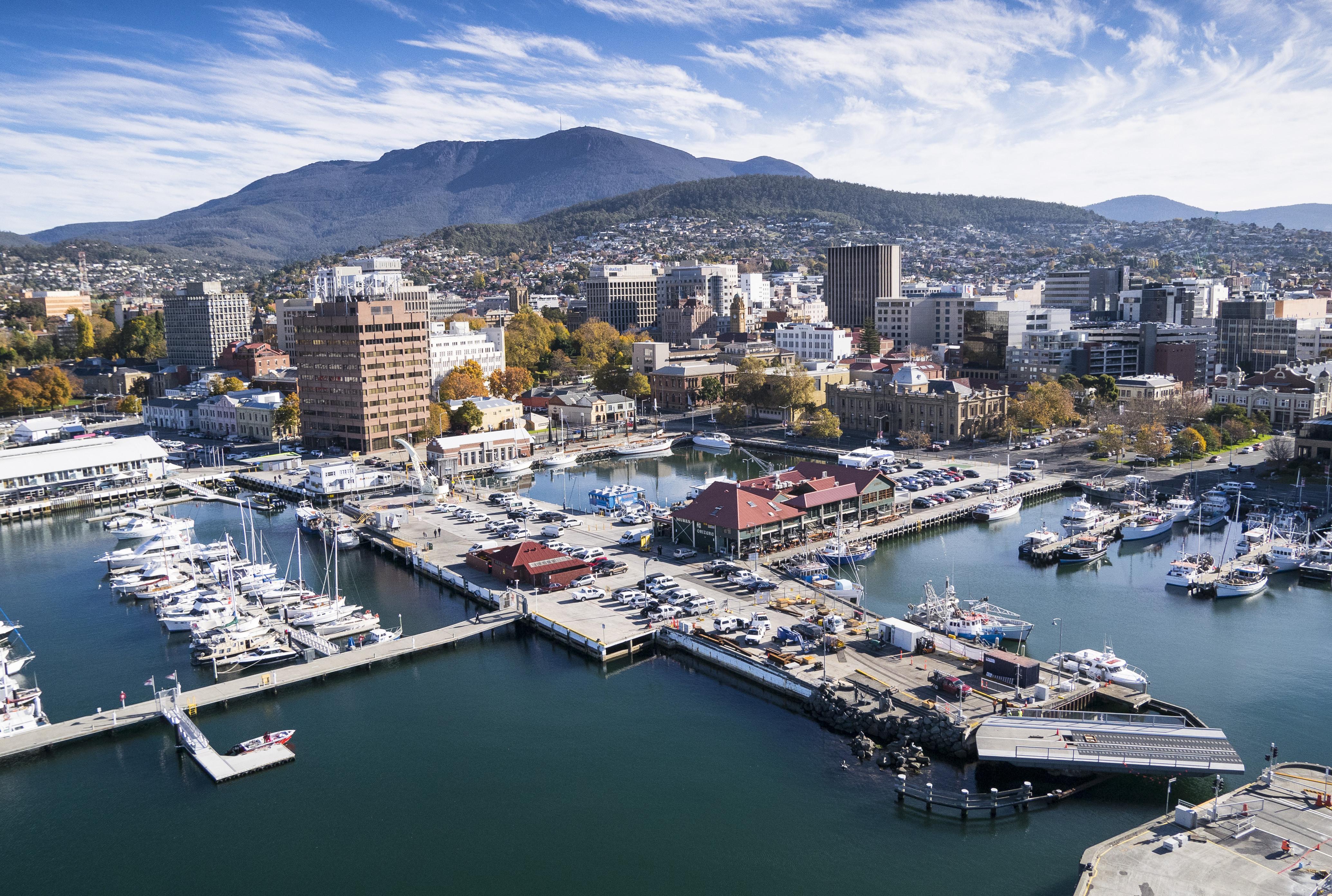 Luftaufnahme Hobart und Hafen Tasmanien