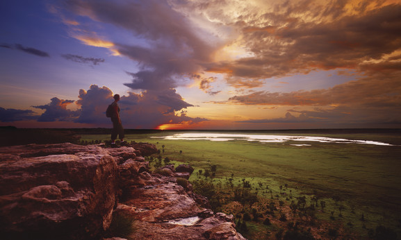 Sunset Ubirr Rock Ausblick auf Floodplains Kakadu Nationalpark Northern Territory NT Australien