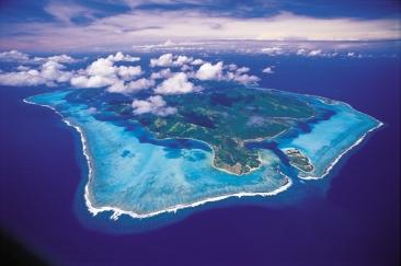 Luftaufnahme Huahine und Lagune Französisch Polynesien Tahiti