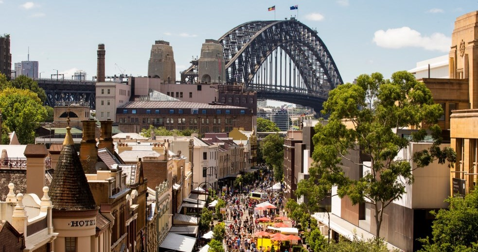 The Rocks und Harbour Bridge Sydney New South Wales