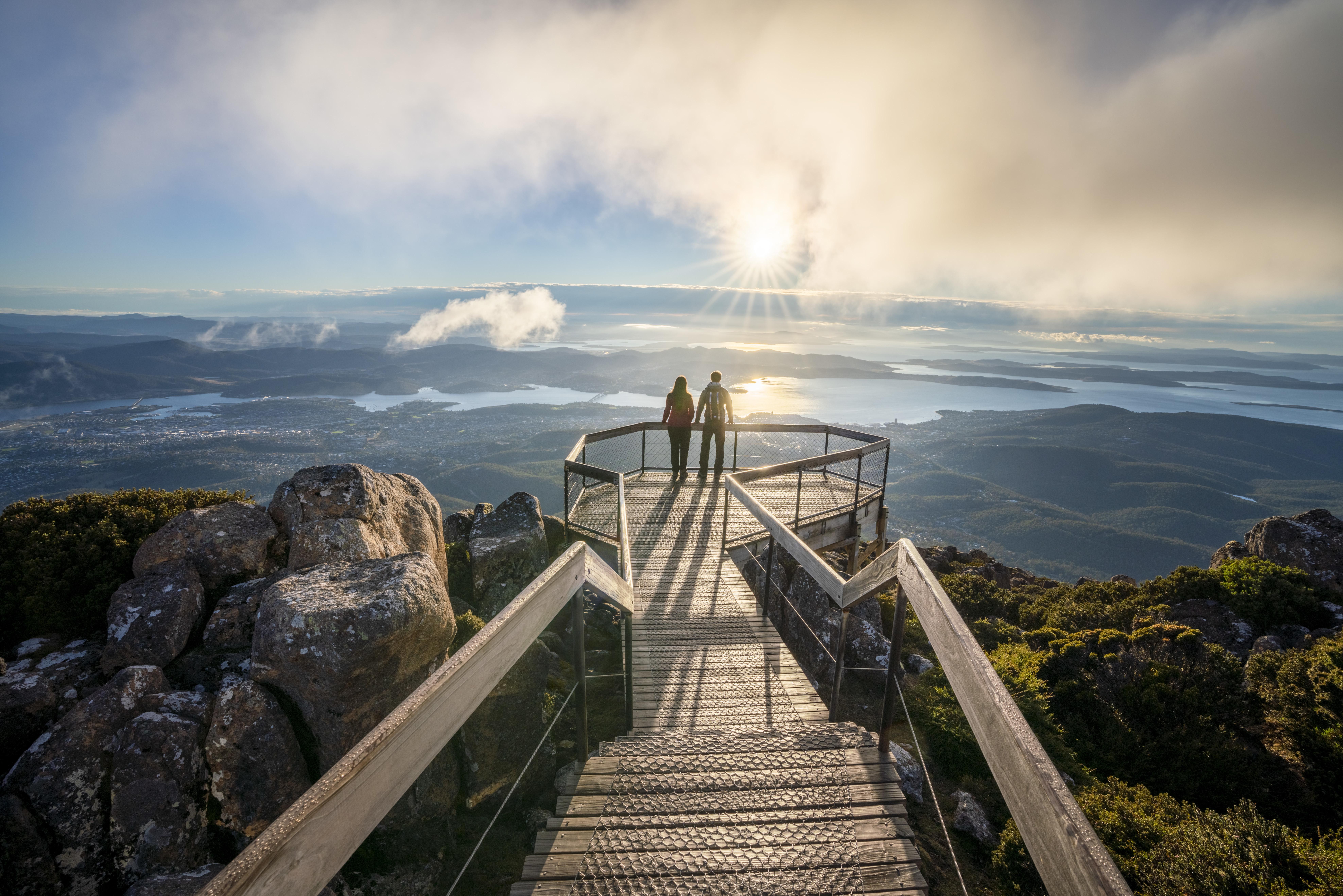 Ausblick vom Mt Wellington Hobart Tasmanien