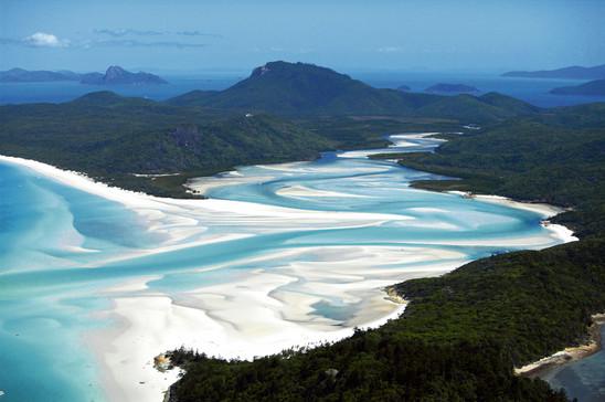 Luftaufnahme vom Whiteheaven Beach Hill Inlet Whitsunday Islands Queensland Australien QLD