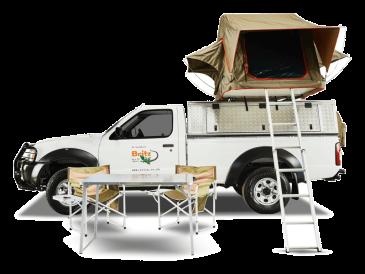 Britz Südafrika Namibia 2-Bett 4WD Camper Single Cab – MSE / MSEP / SE Seitenansicht geöffnetes Dachzelt