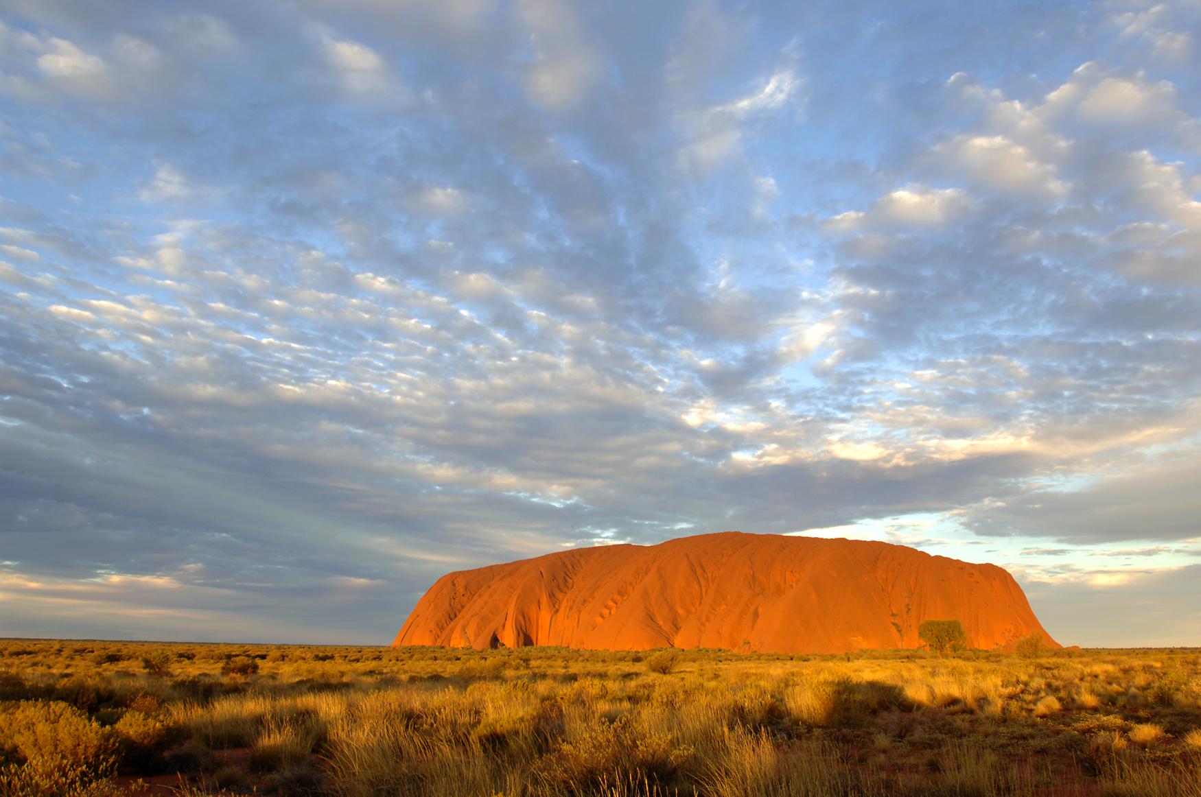 Sonnenuntergang Uluru Ayers Rock Nationalpark Northern Territory Australien