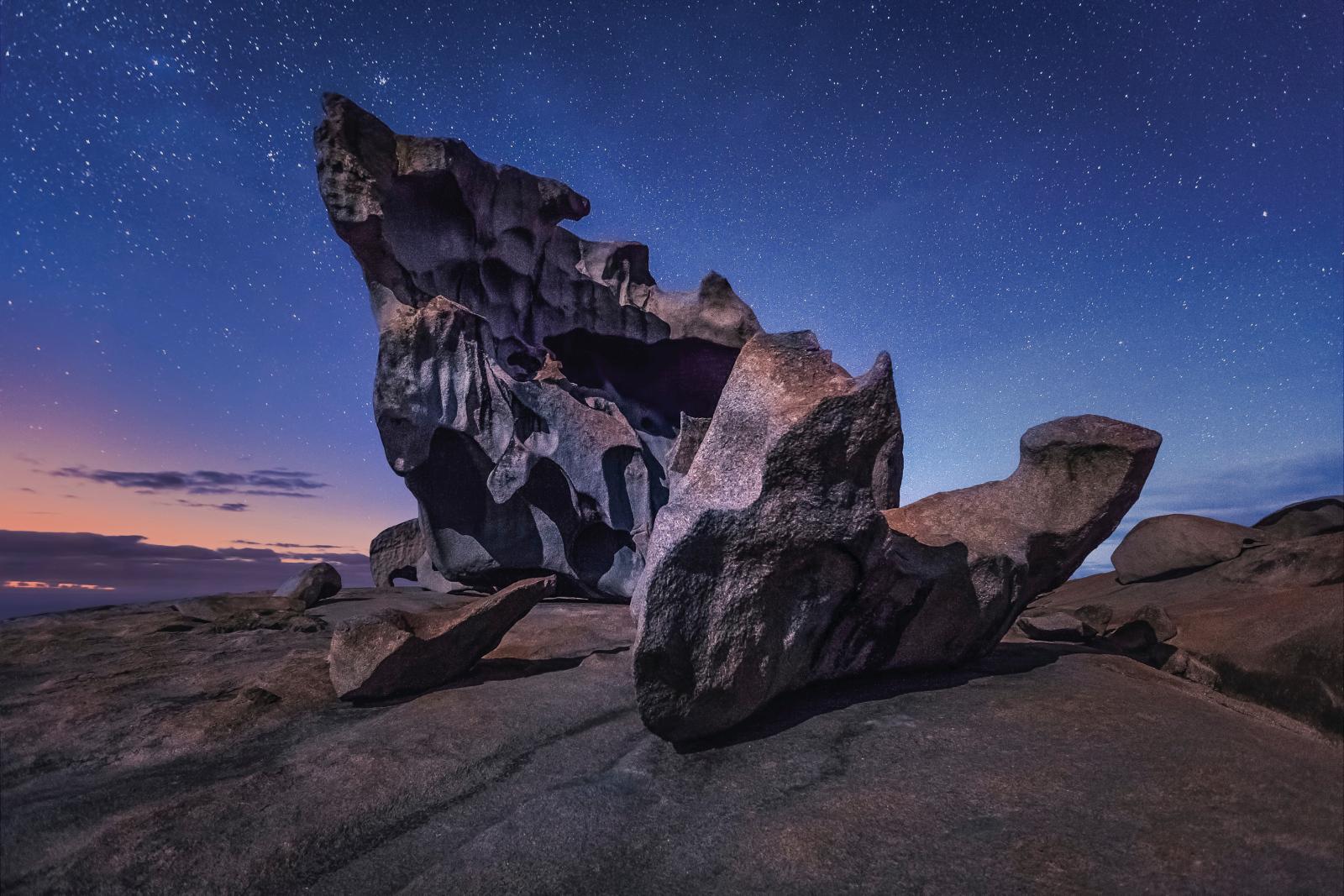 Remarkable Rocks by night Kangaroo Island Südaustralien